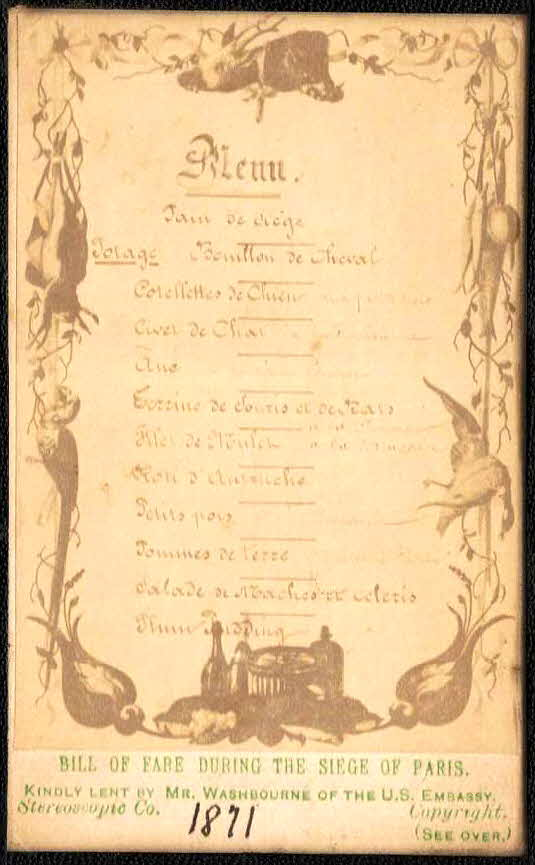 1871 Siege of Paris Menu (French)