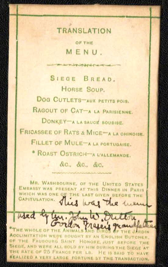 1871 Siege of Paris Menu