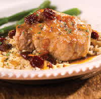 pork chops, cherry sauce