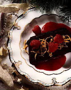 Chocolate Pave with Raspberry Sauce