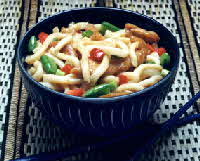 udon noodles with bourbon chicken