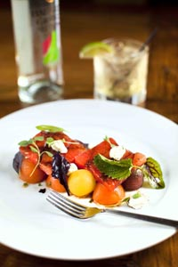 Grilled Watermelon, Tomato And Goat Cheese Salad
