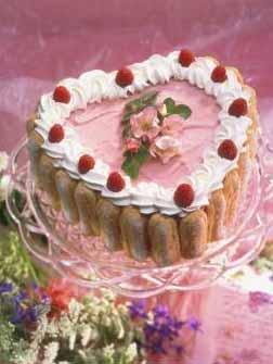 Raspberry Ice Cream Heart Cake With Raspberry Amaretto Sauce